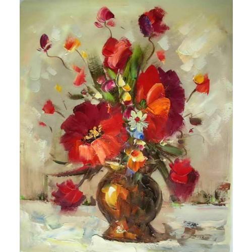 Dark Gold Vase With Flowers