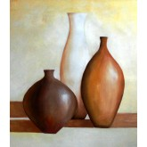 Brown and Cream Vases on a Table